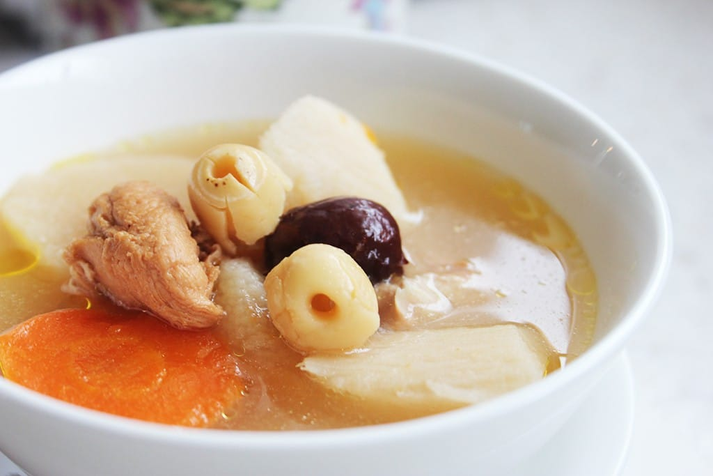 Fresh Chinese Yam with Carrot and Chicken Soup | foodelicacy