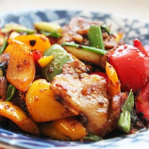 Stir-fried Pork with Coloured Peppers