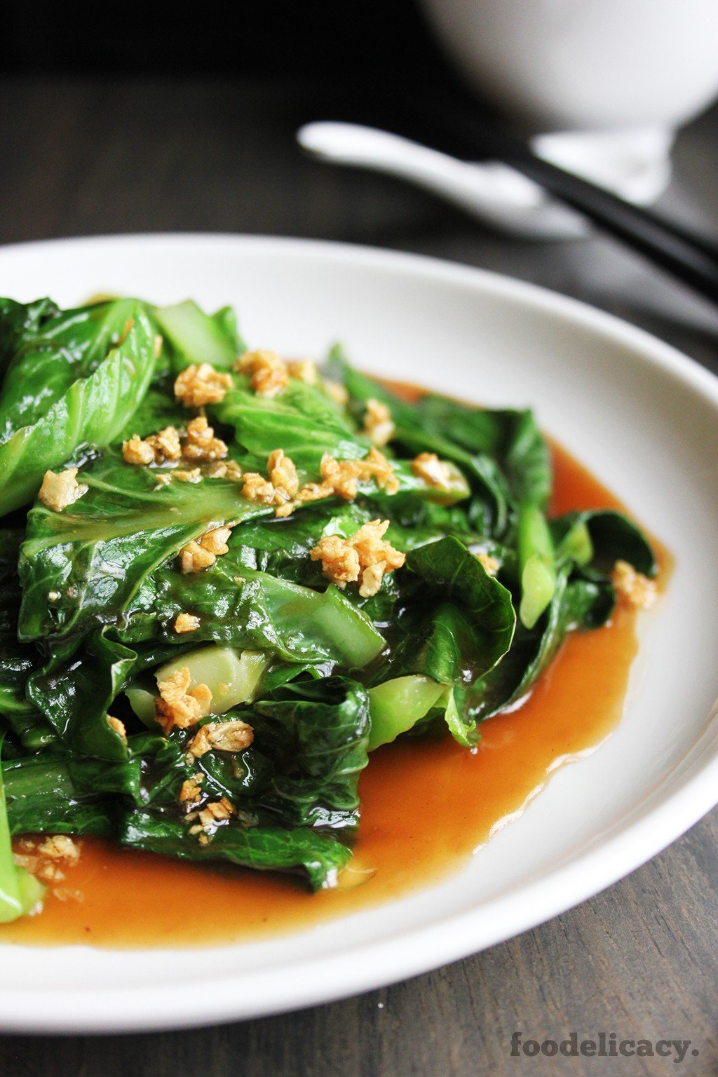 stir fried kailan with garlic and oyster sauce