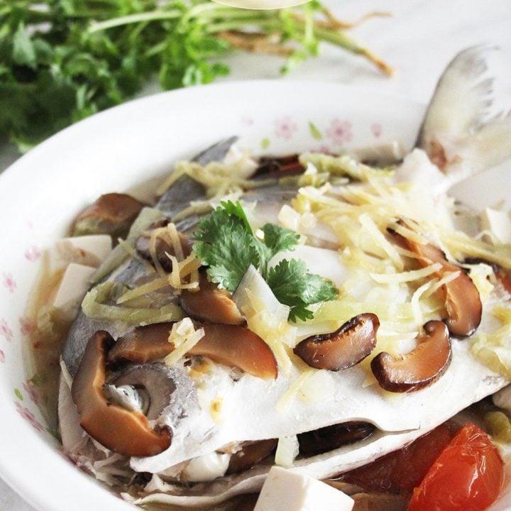 Teochew-Style Steamed Pomfret
