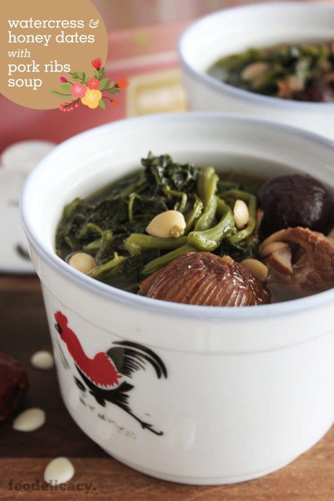 Chinese Watercress Soup with Pork Ribs and Honey Dates