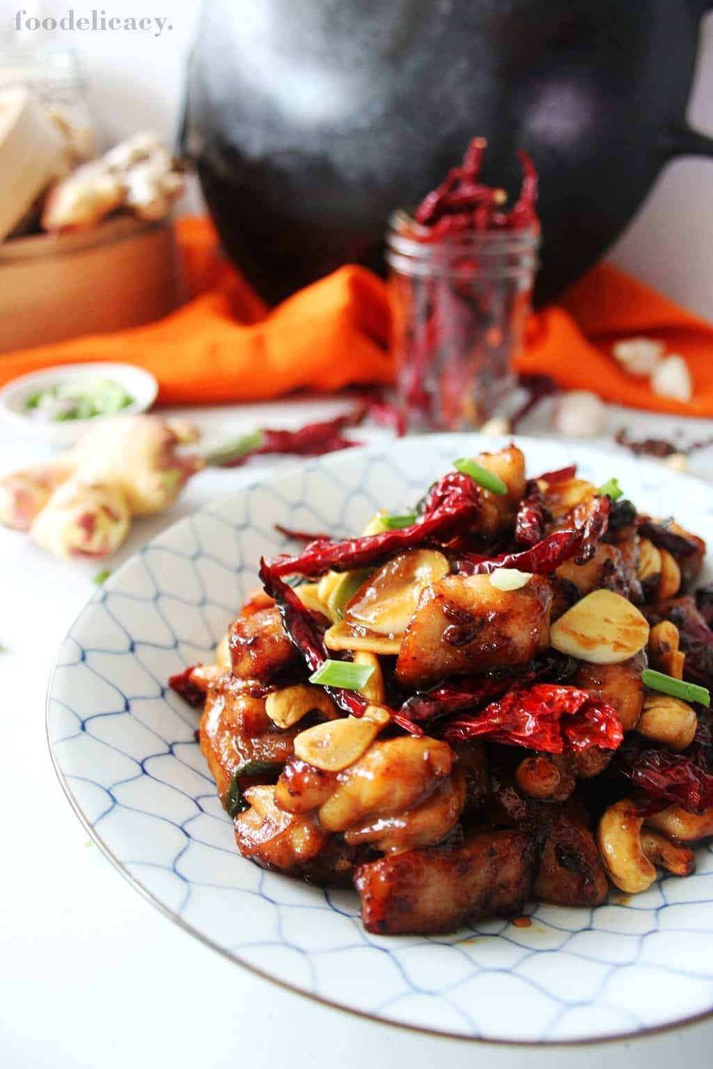gong bao chicken (chicken fried with dried chillies)