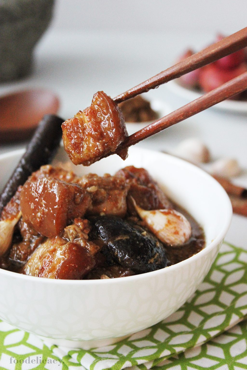 A Peranakan dish of babi pongteh (braised pork in fermented soy bean paste)