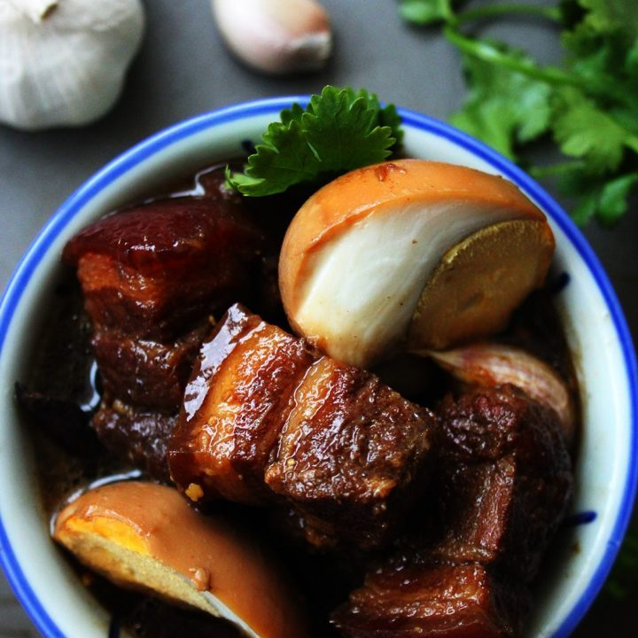 pork belly with eggs in soy sauce