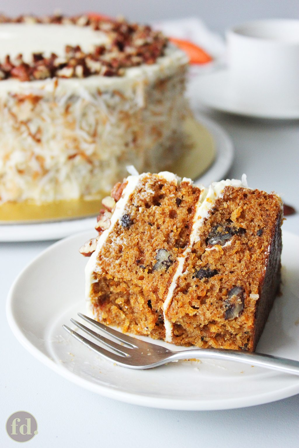 super moist and tender carrot cake with delicious cream cheese frosting