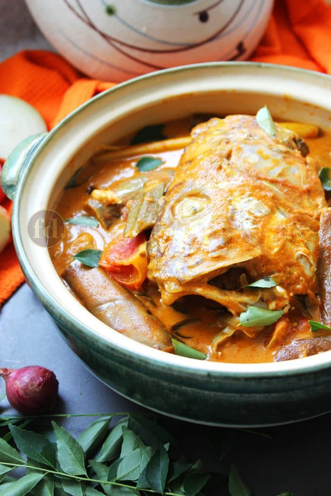 A claypot dish of Singapore fish head curry