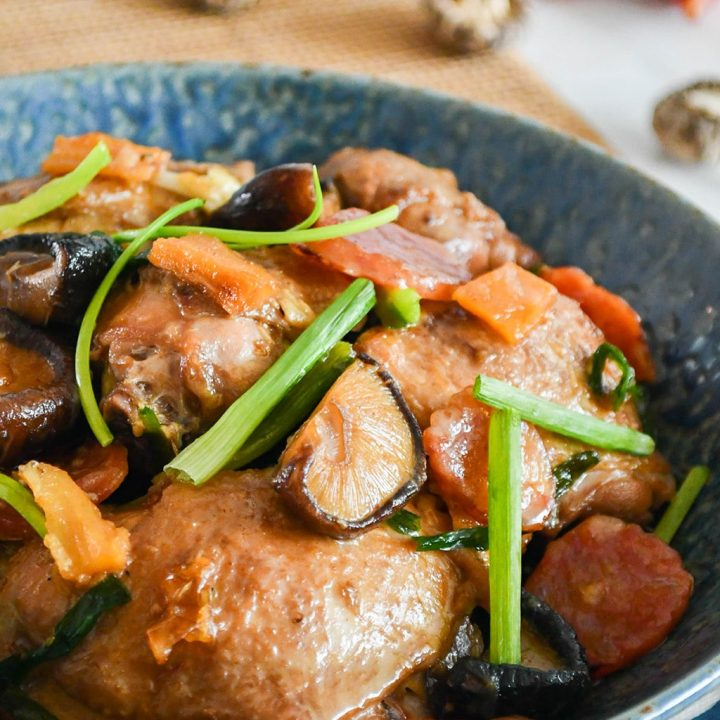 Braised Chicken with Mushrooms and Chinese Sausages