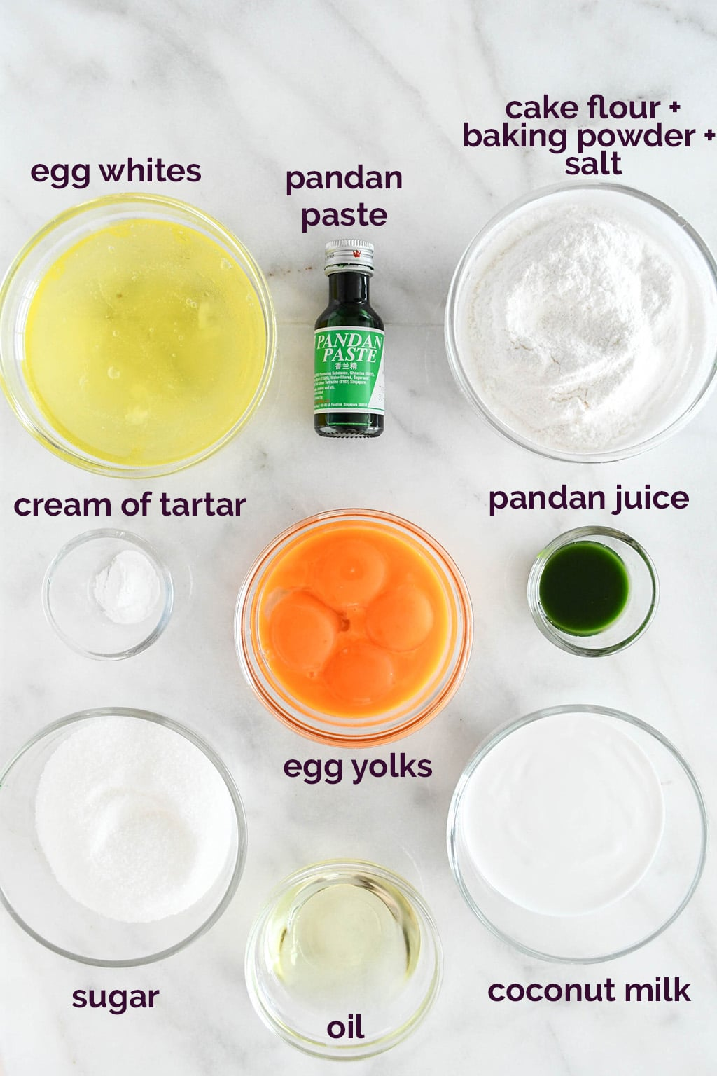 Pandan Chiffon Cake Ingredients