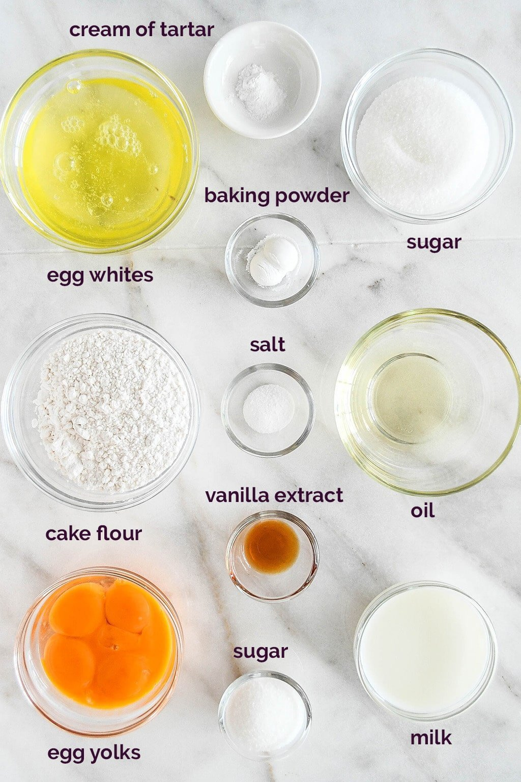 Vanilla Chiffon Cake ingredients