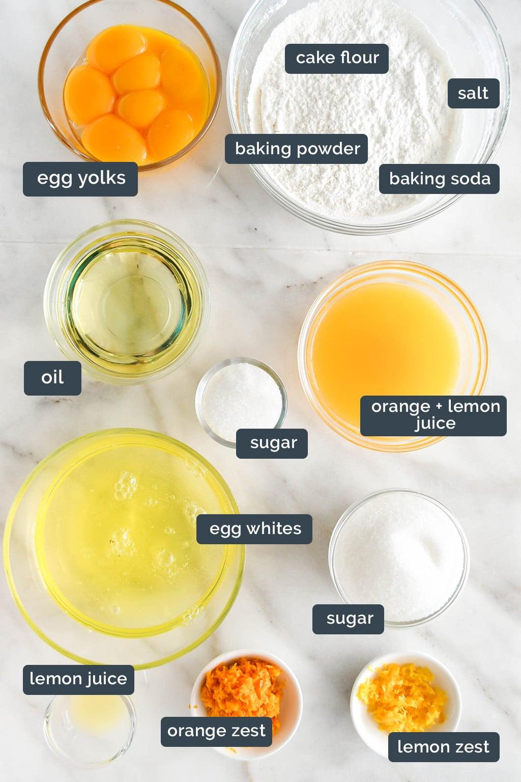 Orange chiffon cake ingredients