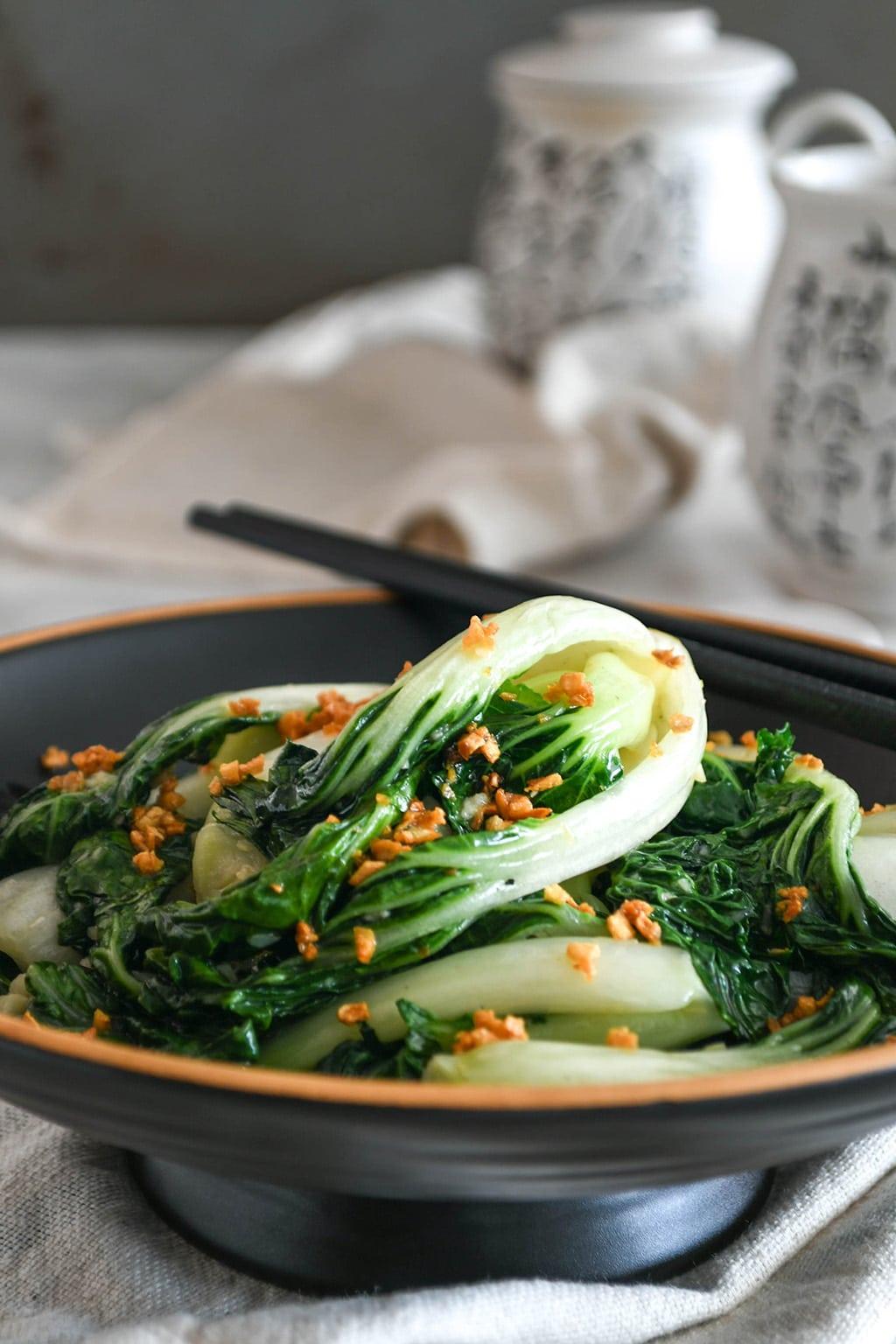 Stir-fried Nai Bai (or Bak Choy) with Garlic