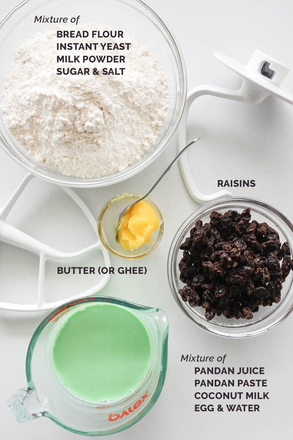 Pandan Raisin Bread Ingredients
