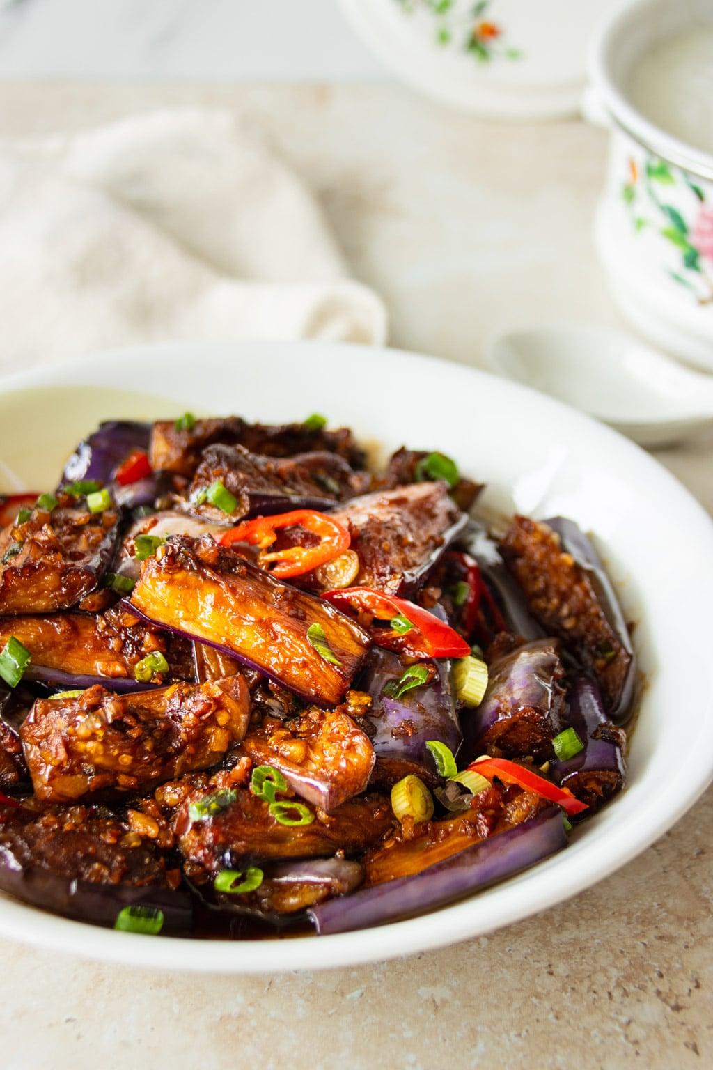 Stir-fried Brinjal with Garlic & Dried Shrimp