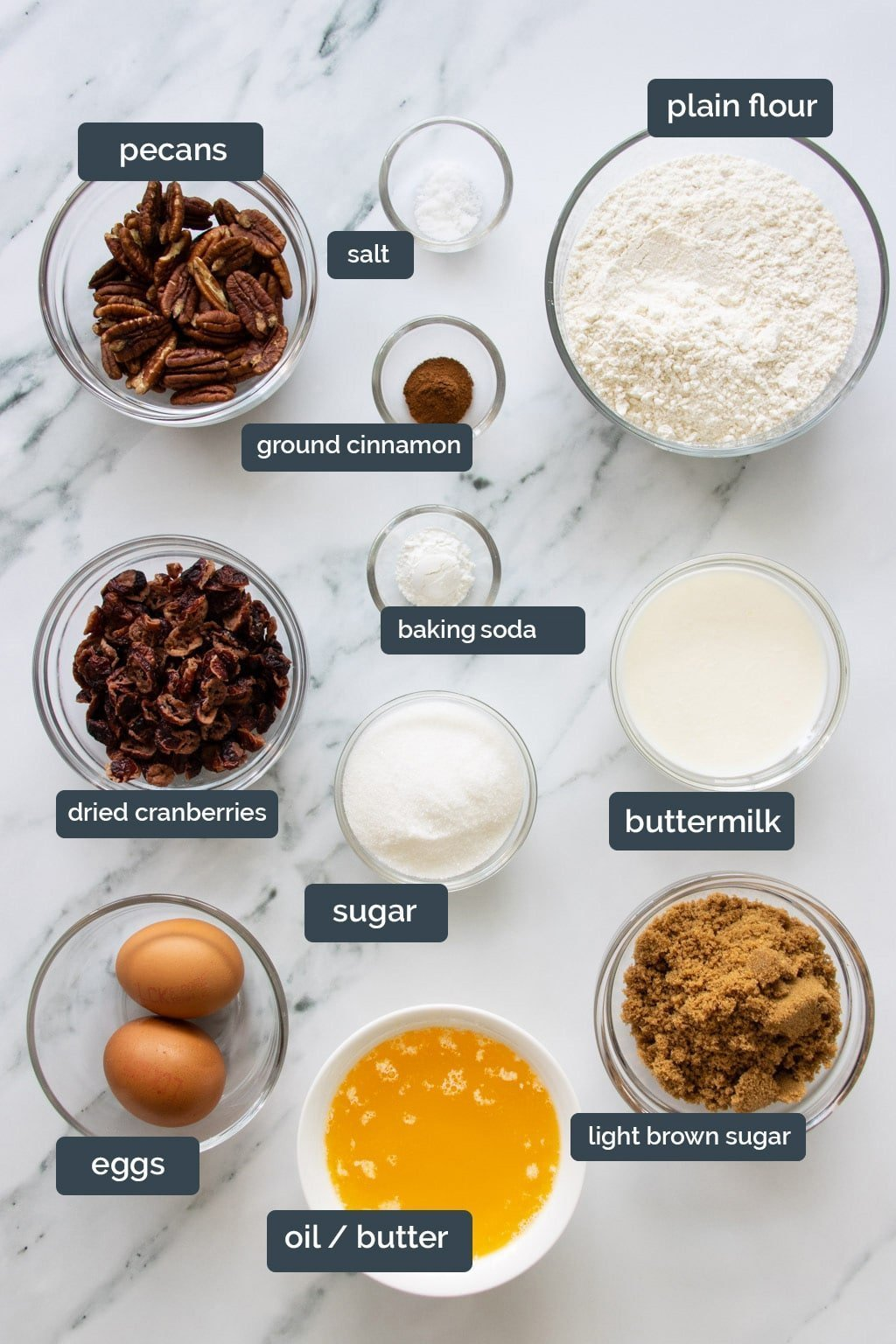 Cranberry pecan loaf cake ingredients