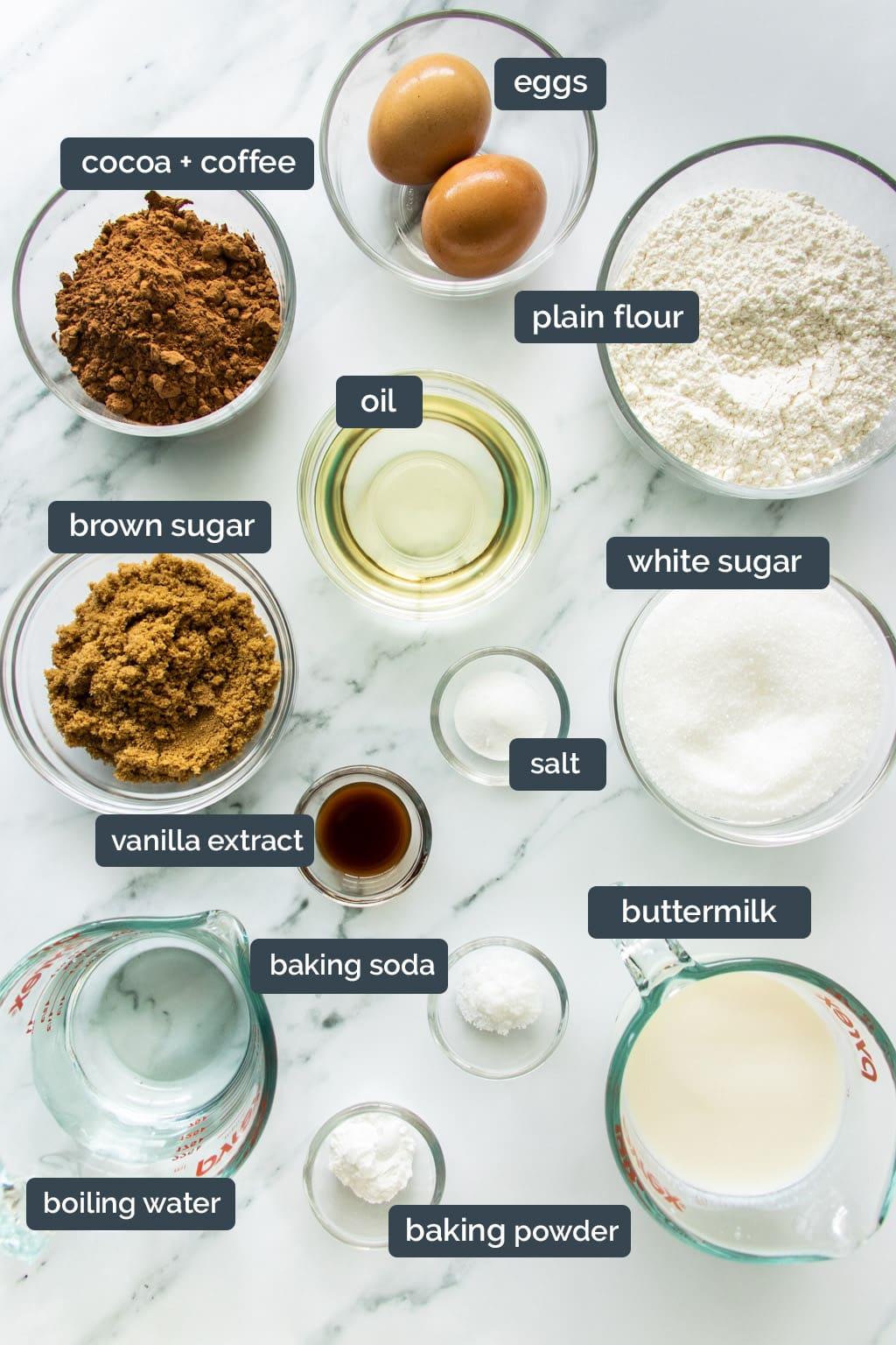 Chocolate cake ingredients