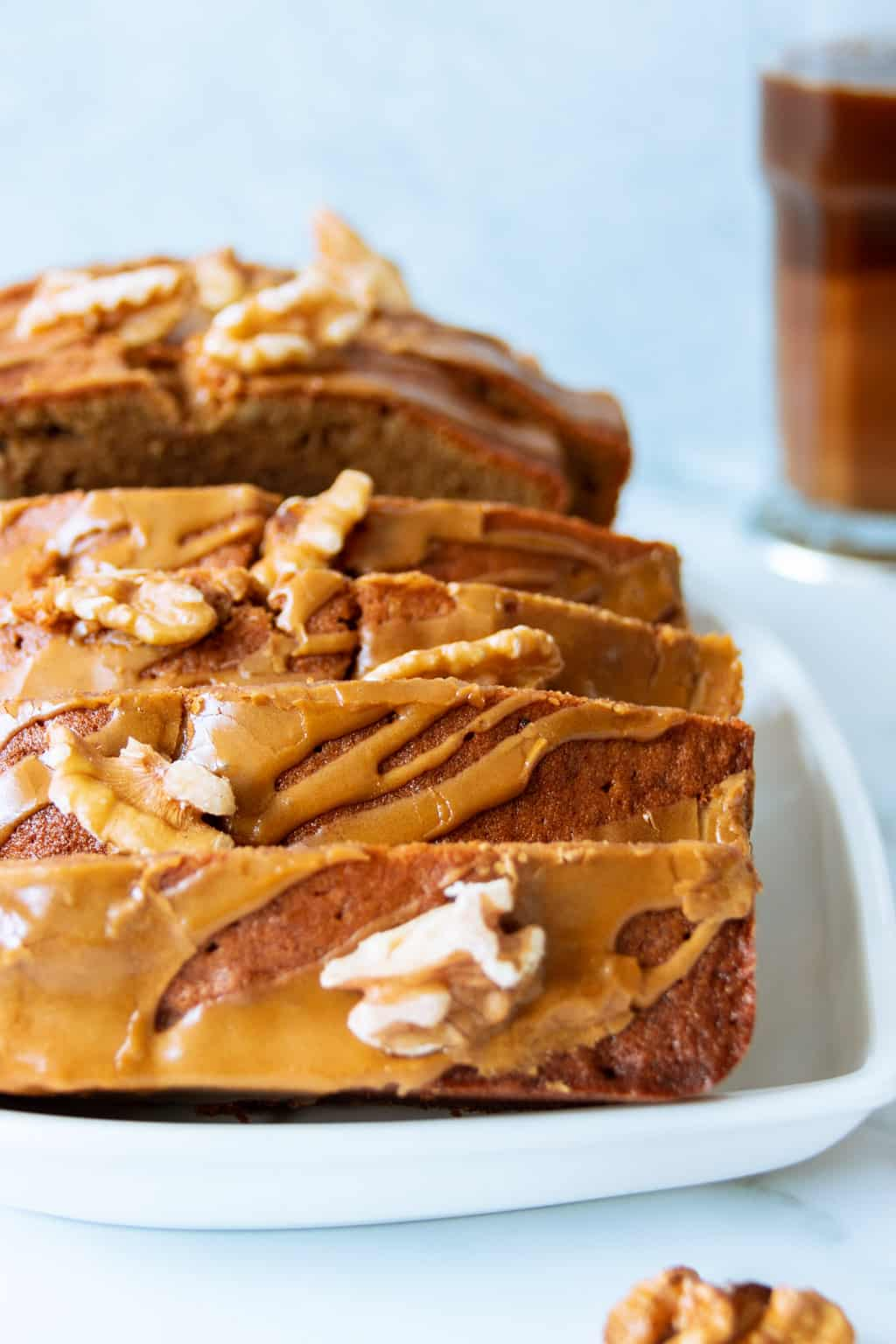 Coffee walnut cake with coffee glaze
