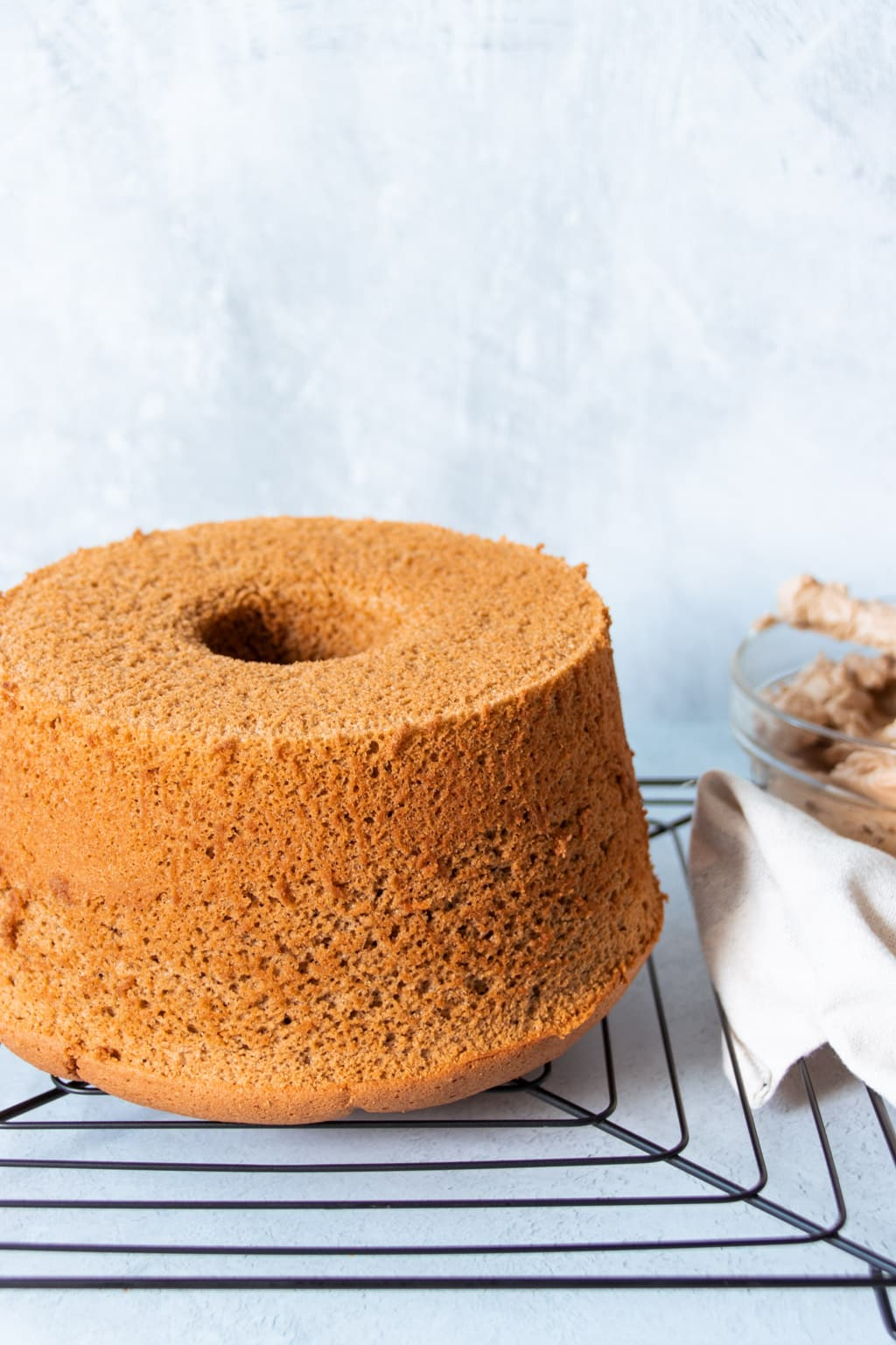 Coffee chiffon cake, cooling on a wire rack