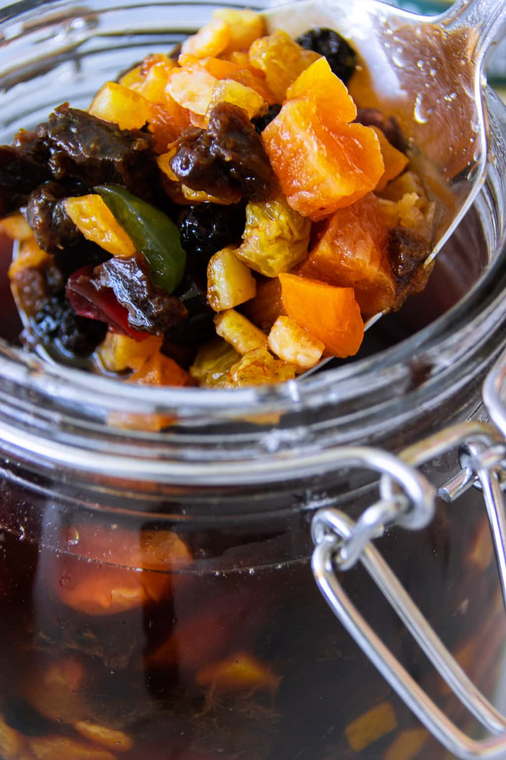 Dried fruit mix soaked in rum, stored in air-tight glass jar