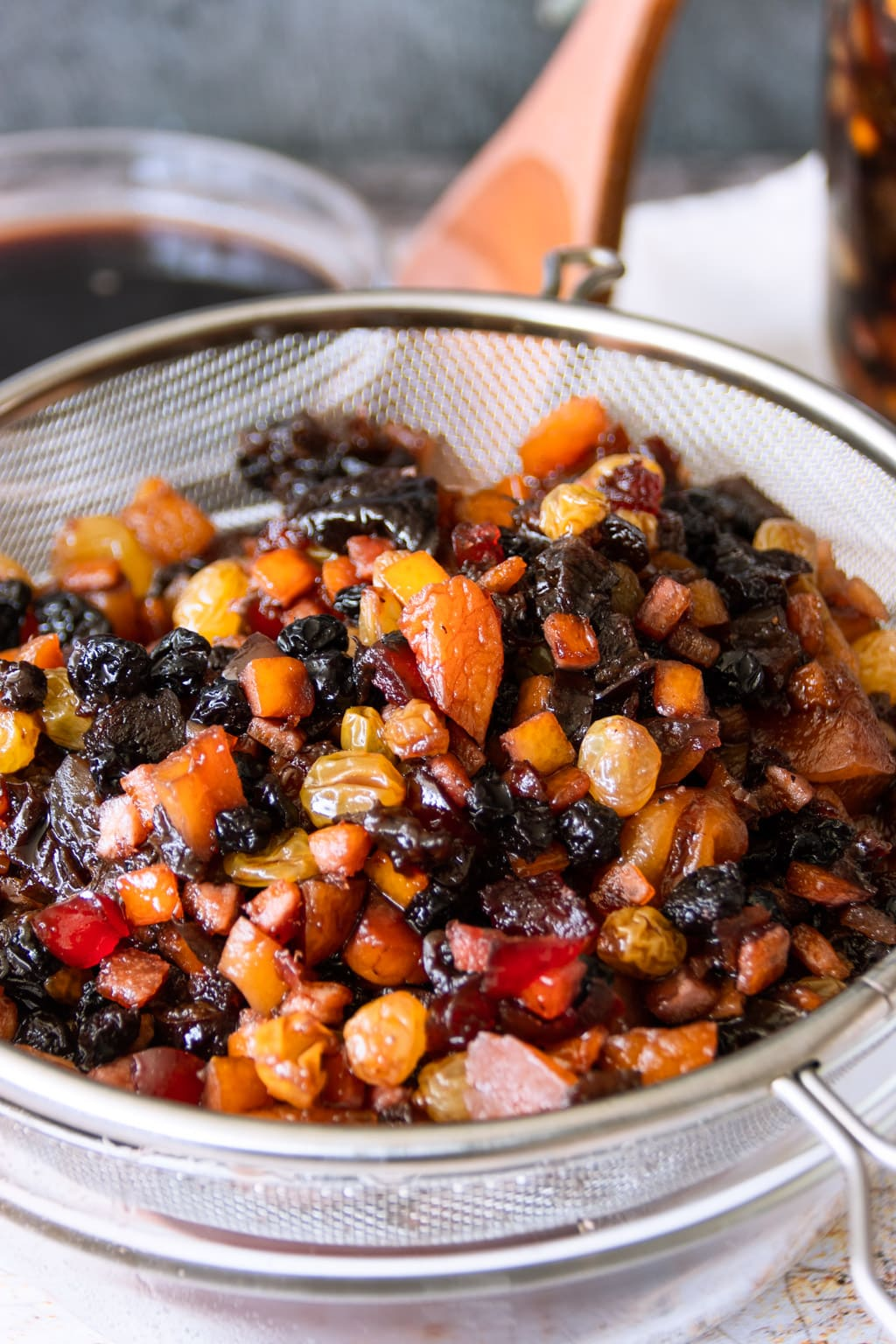 Do-it-yourself fruit mix soaked in rum, drained before mixing into fruit cake