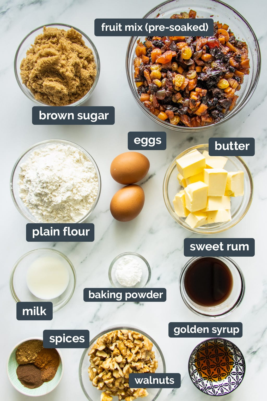 Ingredients for moist fruit cake