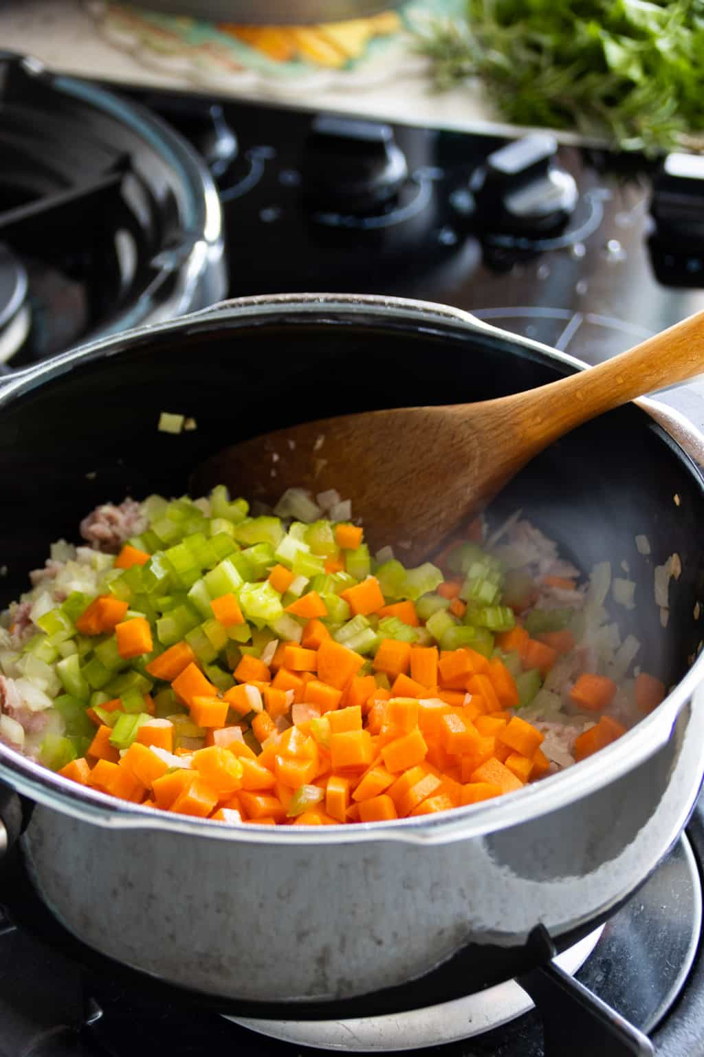 Cooking soffritto for bolognese sauce