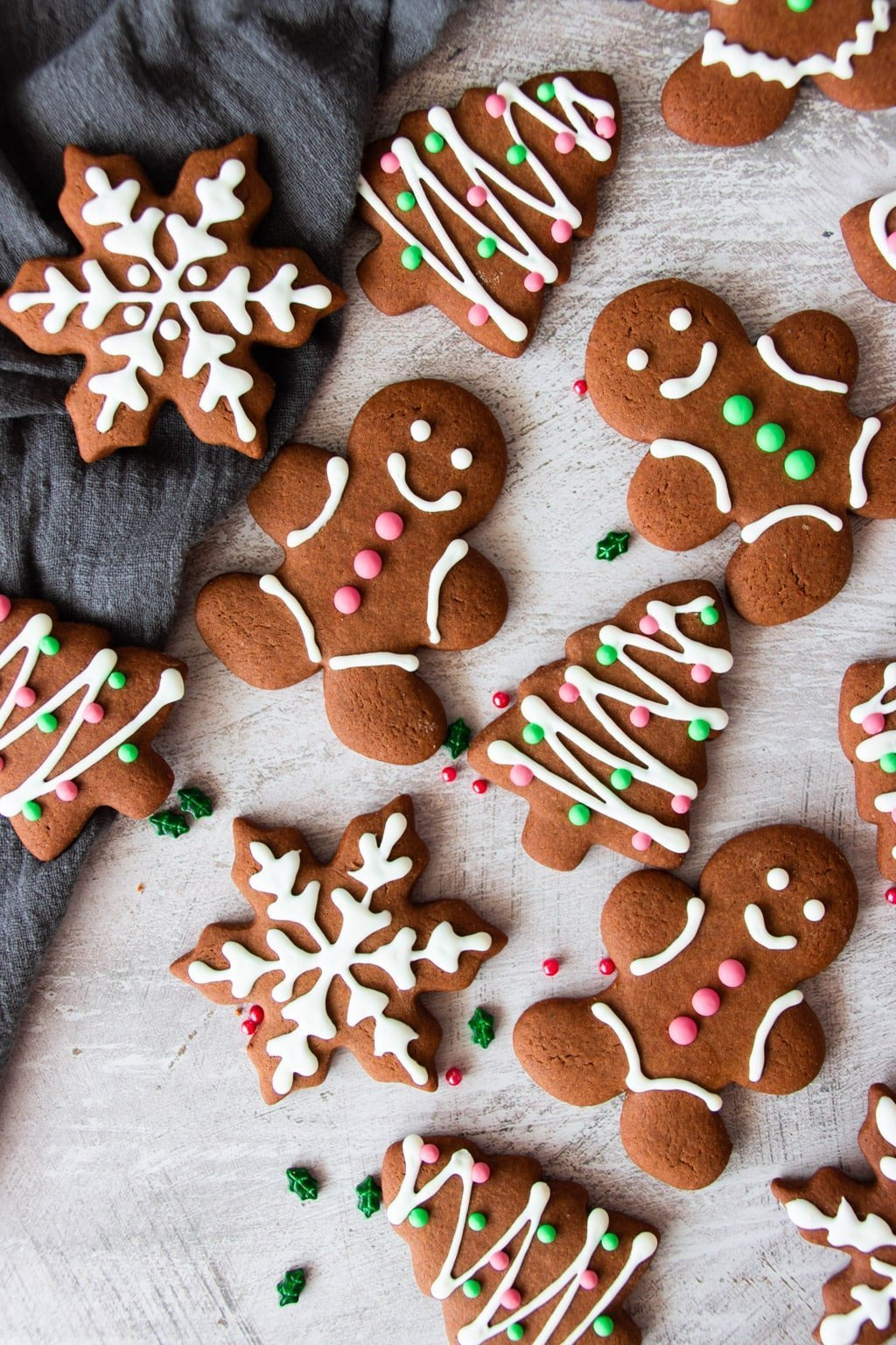 Assorted gingerbread cookies, iced in festive Christmas colours