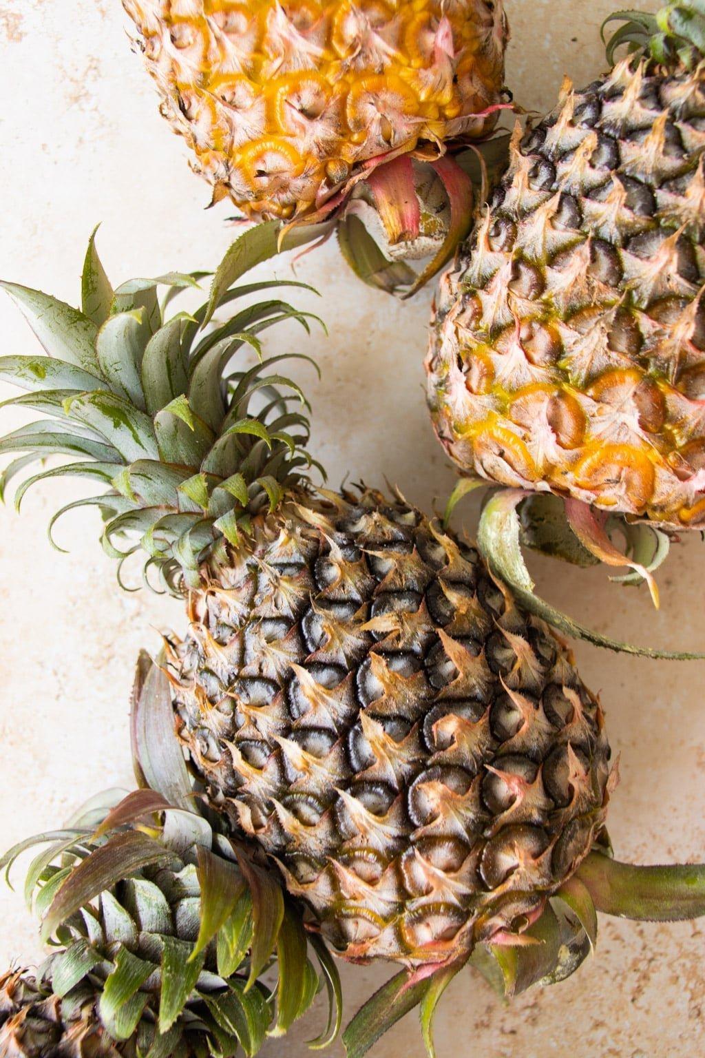 Whole, uncut pineapples