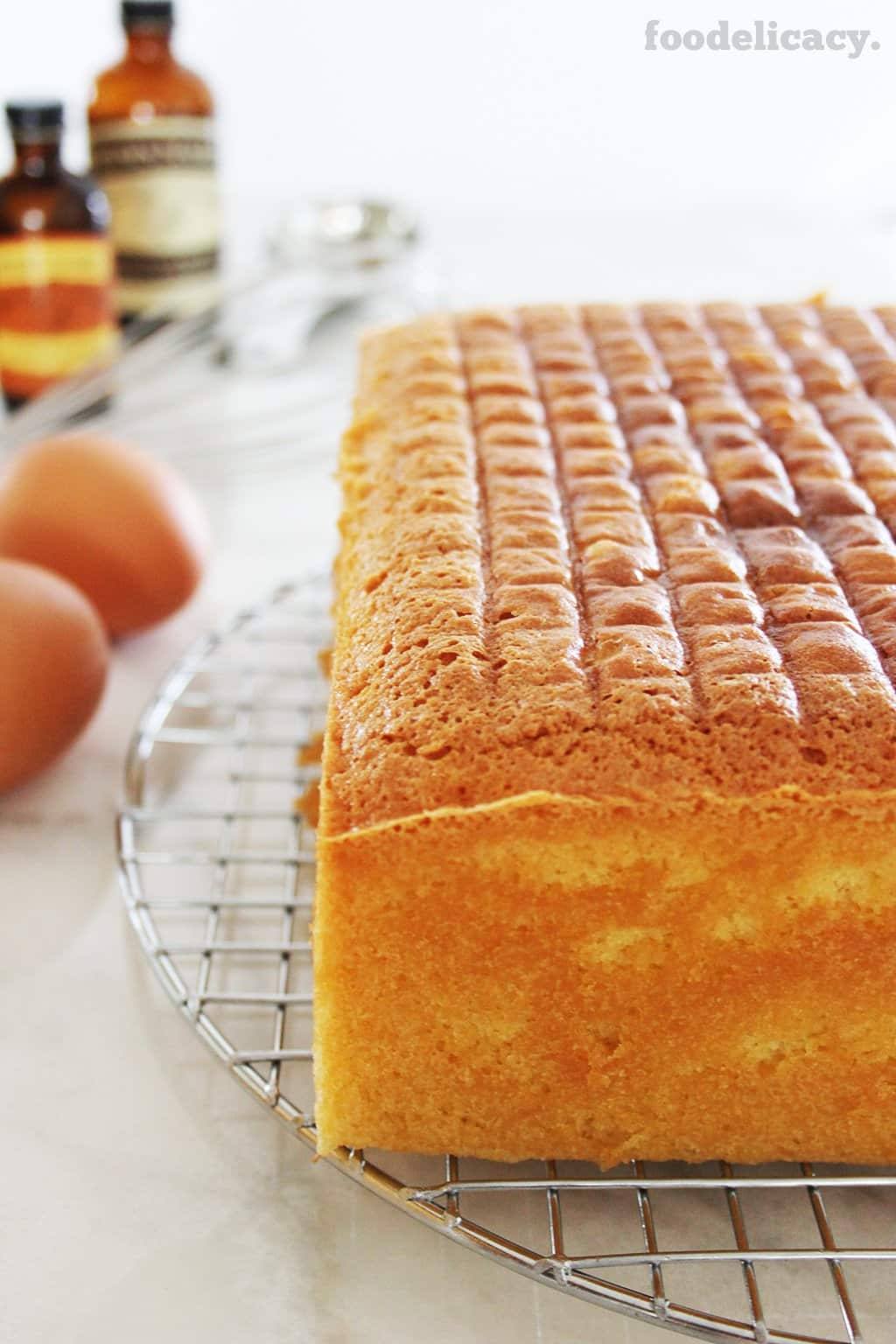 Very rich butter cake set to cool on a wire rack