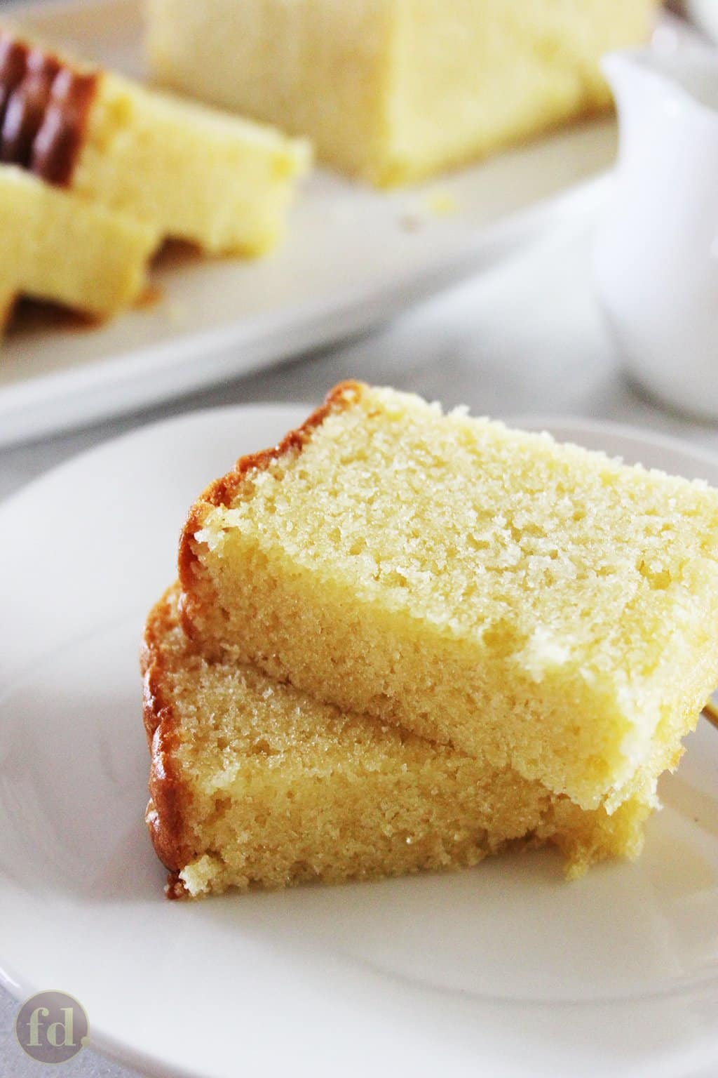 Close-up view of moist crumb of a rich butter cake