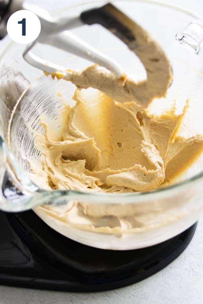 blueberry cake batter starts with creaming butter and sugars