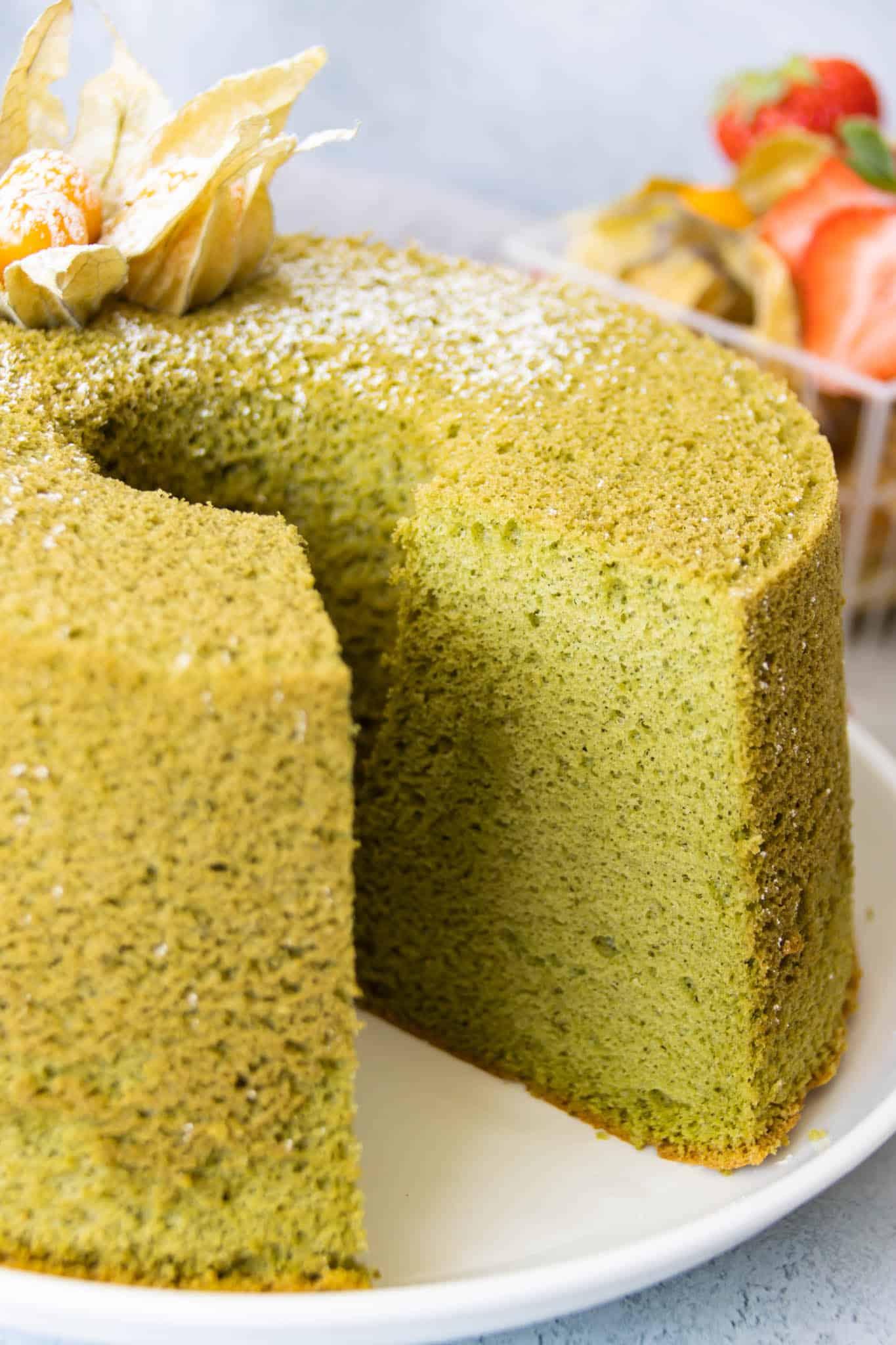 Matcha (green tea) chiffon cake with a light, fluffy and moist crumb
