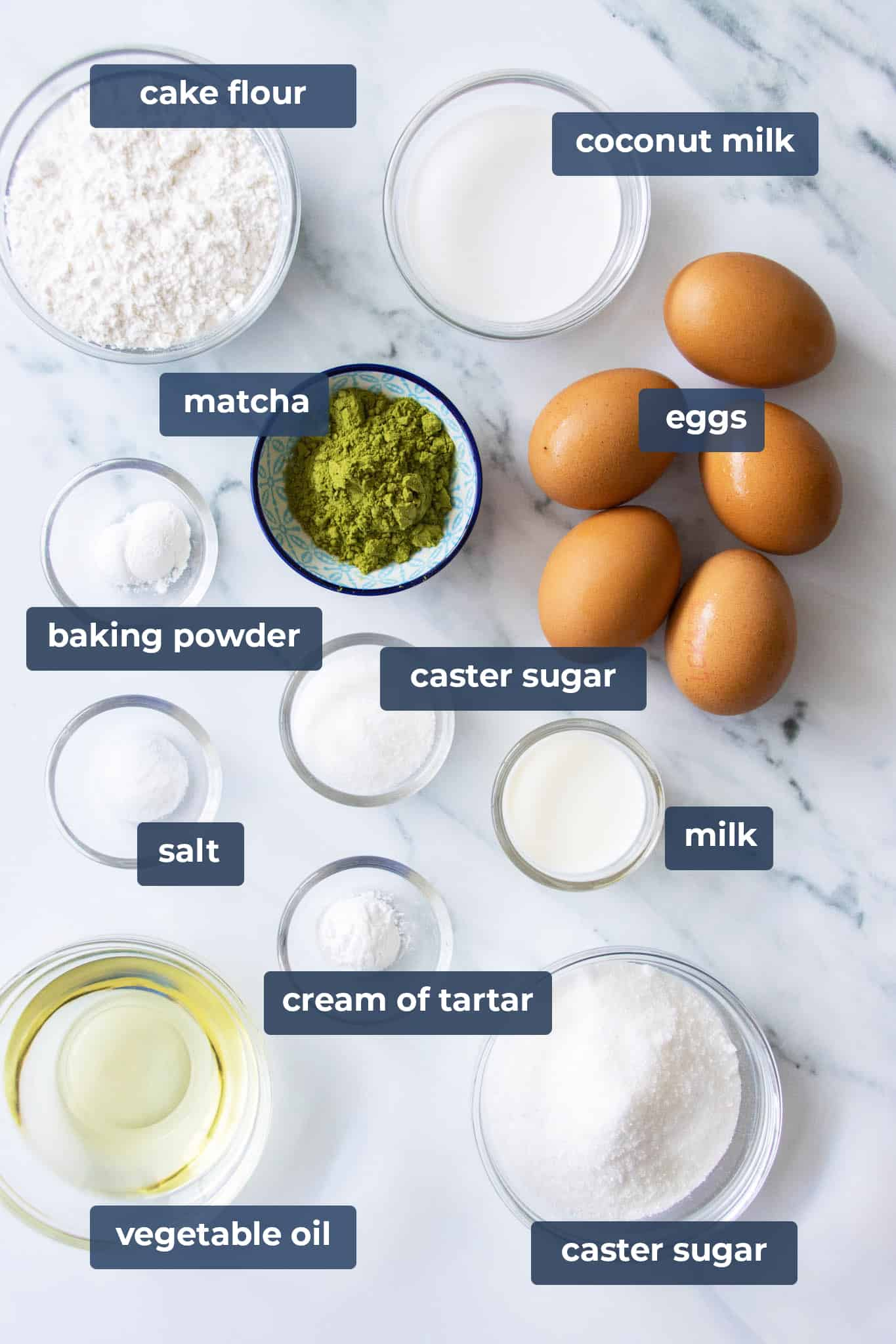 ingredients for matcha (green tea) chiffon cake