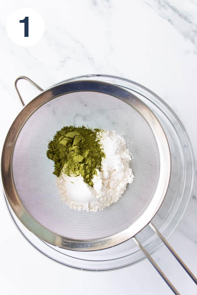 Sifting dry ingredients together for matcha chiffon cake