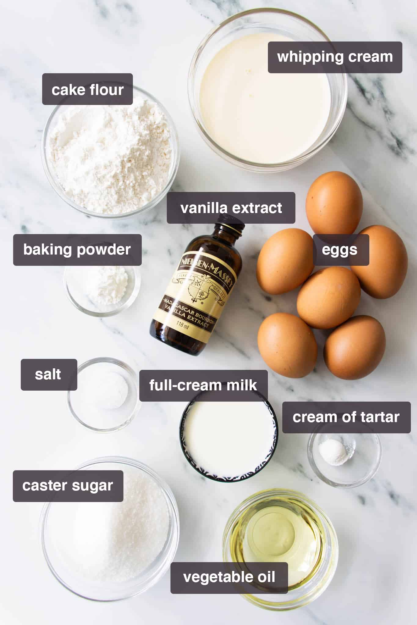 Ingredients for vanilla Swiss roll cake