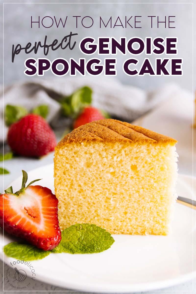 Genoise Sponge Cake Featured for Pinterest