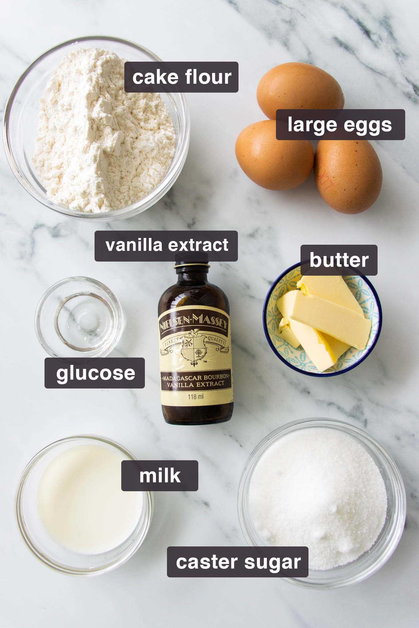 Ingredients for genoise sponge cake