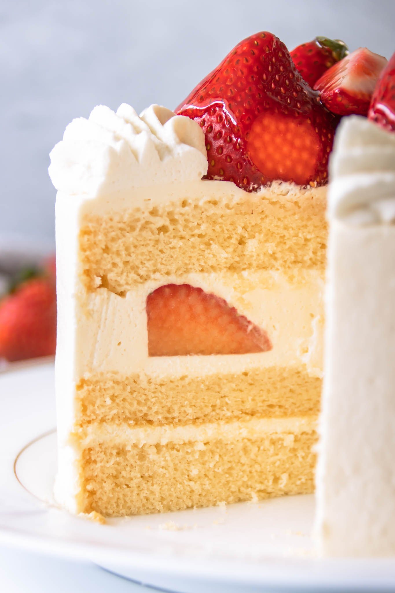 Japanese strawberry shortcake made with vanilla sponge cake layers filled with whipped cream and fresh strawberries